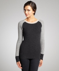Charcoal heather and oatmeal sweater by Wyatt at Bluefly