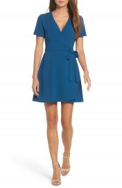 Charles Henry Crepe Wrap Dress at Nordstrom