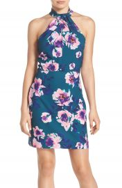 Charles Henry Floral Print Halter Dress at Nordstrom