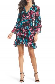 Charles Henry Wrap Tiered Sleeve Dress at Nordstrom