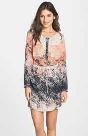 Charlie Jade Snake Print Long Sleeve Silk Shirtdress at Nordstrom