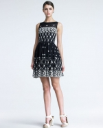 Charlottes Red Valentino dress at Bloomingdales