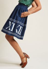 Charming Cotton Skirt with Pockets in Navy Numerals at ModCloth