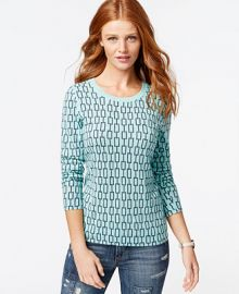 Charter Club Cashmere Chain-Print Sweater at Macys
