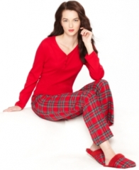 Charter Club Holiday Lane Flannel Mix it Up Top and Pajama Pants Set in plaid at Macys