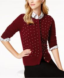 Charter Club Pearl-Embellished Cashmere Cardigan at Macys