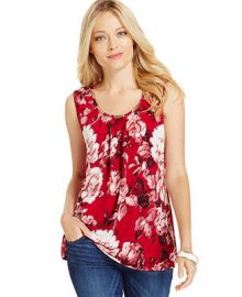 Charter Club Pleated Hardware-Trim Tank Top Floral Print at Macys