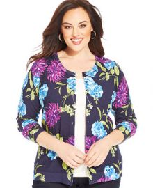 Charter Club Plus Size Long-Sleeve Floral-Print Cardigan at Macys