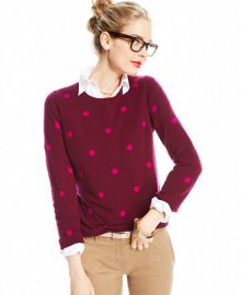 Charter Club Polka-Dot Crew-Neck Cashmere Sweater - Sweaters - Women - Macys at Macys