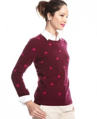Charter Club Sweater Long-Sleeve Polka-Dot Crew-Neck in red at Macys