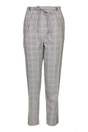 Check Eyelet Tie Peg Trousers at Topshop