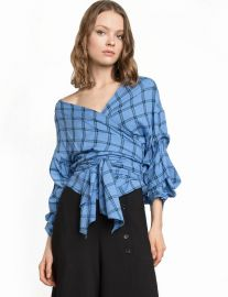 Check Wrap Top at Pixie Market