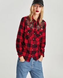 Checked Shirt with Bejewelled Applique at Zara
