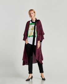 Checked Kimono with Ruffled Sleeves by Zara at Zara