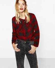 Checked Knotted Top at Zara