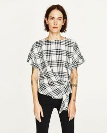 Checked Top with Front Knot at Zara