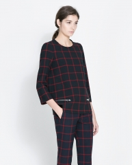 Checked top with zips at Zara