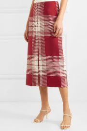 Checked wool-blend midi skirt at Net A Porter