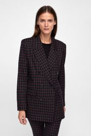 Checkered Double Breasted Blazer by Zara at Zara