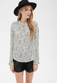 Cheetah Print High-Neck Blouse  Forever 21 - 2000116725 at Forever 21