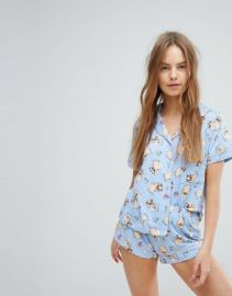 Chelsea Peers Sleeping Pugs Short Pyjama Set at asos com at Asos