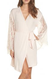Chelsea28 Love Struck Lace Trim Wrap in Pink Peony Bud at Nordstrom