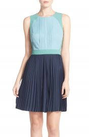Chelsea28 Colorblock Pleat Fit   Flare Dress at Nordstrom