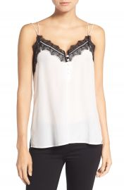 Chelsea28 Lace Trim Silk Camisole in White at Nordstrom