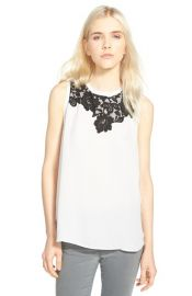 Chelsea28 Lace Trim Sleeveless Top at Nordstrom