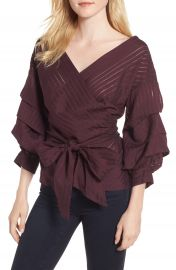Chelsea28 Shadow Stripe Wrap Blouse at Nordstrom