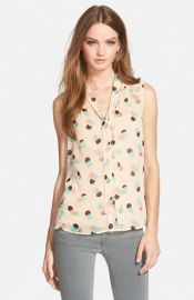 Chelsea28 Smocked Shoulder Top in Flushed Beige Layered Circles at Nordstrom