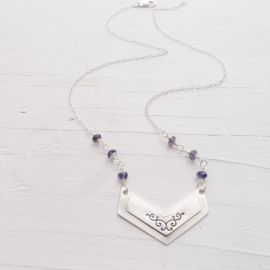 Chevron Necklace with iolite stones at Camilee Designs