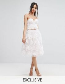 Chi Chi London Lace Midi Prom Skirt with Scalloped Hem Co Ord at asos com at Asos