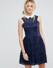 Chi Chi London Structured Lace Skater Dress With Contrast Collar at asos com at Asos