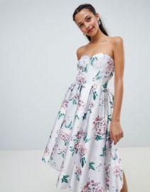 Chi Chi London floral printed bandeau midi dress at asos com at Asos
