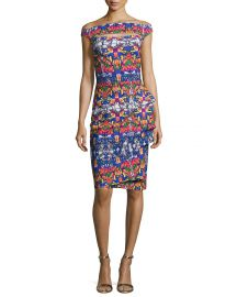 Chiara Boni La Petite Robe Off-the-Shoulder Printed Cutout Cocktail x at Neiman Marcus