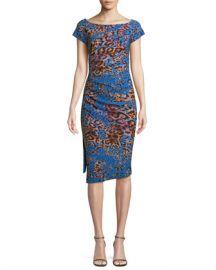 Chiara Boni La Petite Robe Devsi Animal-Print Short-Sleeve Dress at Neiman Marcus