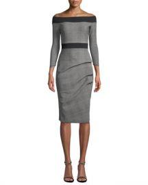 Chiara Boni La Petite Robe Larissa Off-the-Shoulder Plaid Dress at Neiman Marcus