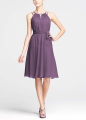 Chiffon dress with beaded straps in Wisteria at eBay