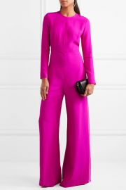 Chiffon-paneled silk-crepe jumpsuit by Adam Lippes at Net A Porter