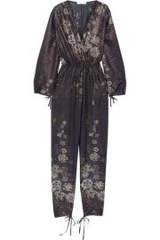 Chlo     Metallic striped floral-print cotton-blend jumpsuit at Net A Porter