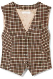 Chlo   - Checked woven and satin-jacquard vest at Net A Porter