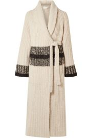 Chlo     Striped ribbed wool-blend cardigan at Net A Porter