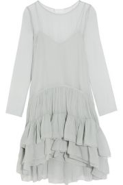 Chlo     Tiered ruffled silk-mousseline dress at Net A Porter