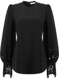 Chlo  233  Laser Cut Bell Sleeved Blouse  1 595 - Shop AW17 Online - Fast Delivery  Price at Farfetch