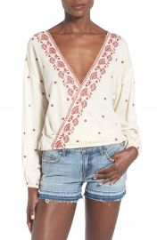 Chloe   Katie Embroidered Surplice Blouse at Nordstrom