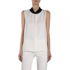 Chloe Contrast Mock Neck Sleeveless Top at Barneys