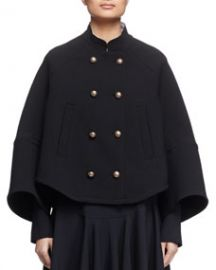 Chloe Mandarin-Collar Double-Breasted Topper Coat Black at Neiman Marcus