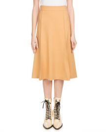 Chloe Mid-Calf A-Line Side-Zip Stretch-Wool Skirt at Neiman Marcus