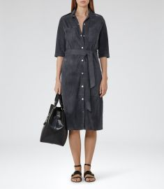 Chloe Suede Shirtdress at Reiss